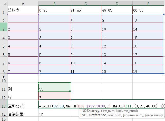 Excel通过INDEX和MATCH函数在区间范围中进行查询实例教程