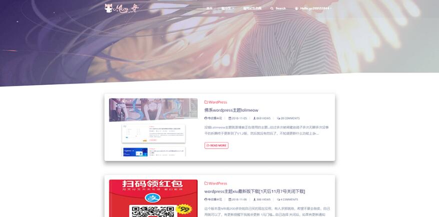 lolimeow V1.6.1主题,二次元可爱萝莉主题资讯资源门户网站wordpress免费主题