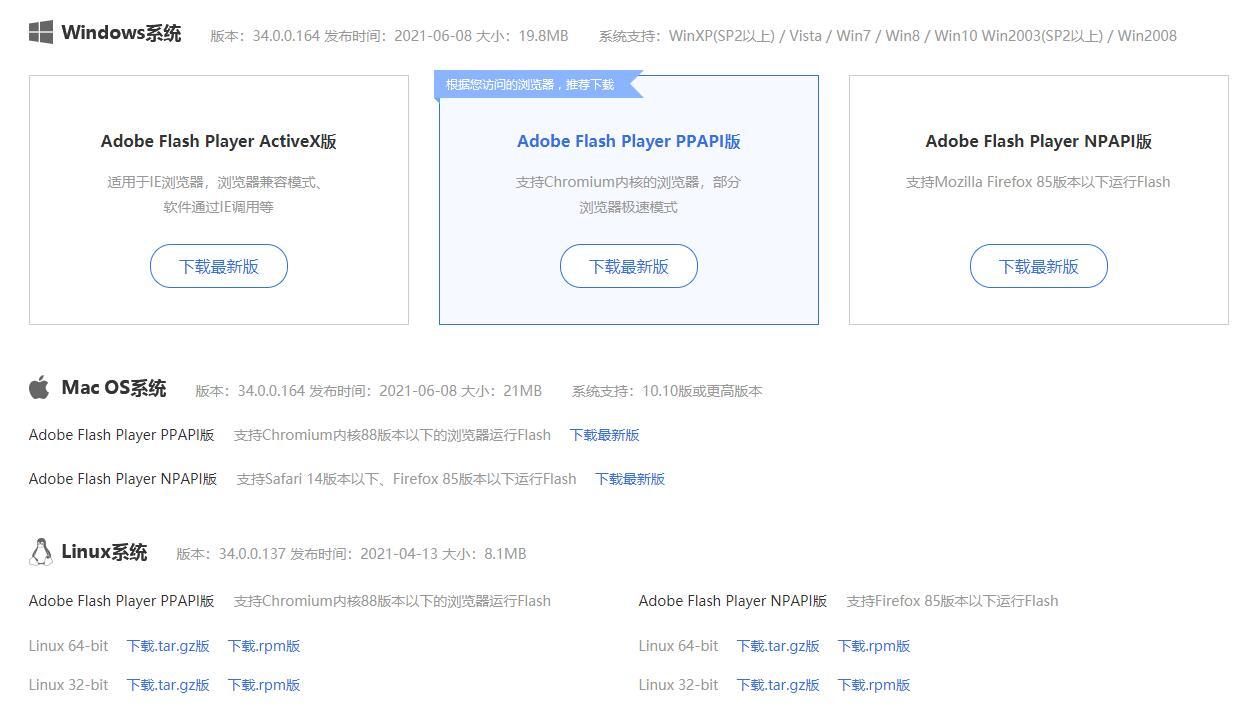 Adobe Flash Player分类下载中心,支持windows、MAC OS、Linux系统